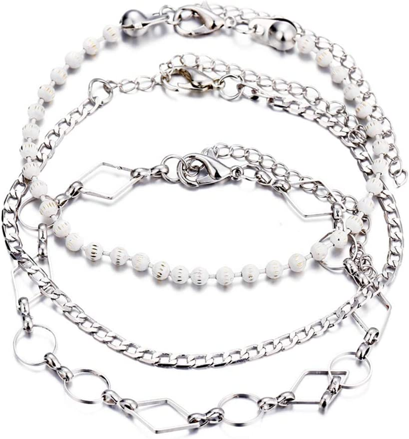 HYhy Vintage Bracelet de Cheville en Perles Ensemble Femmes Minimalisme Hollow Beach Party Multi Layer Anklet