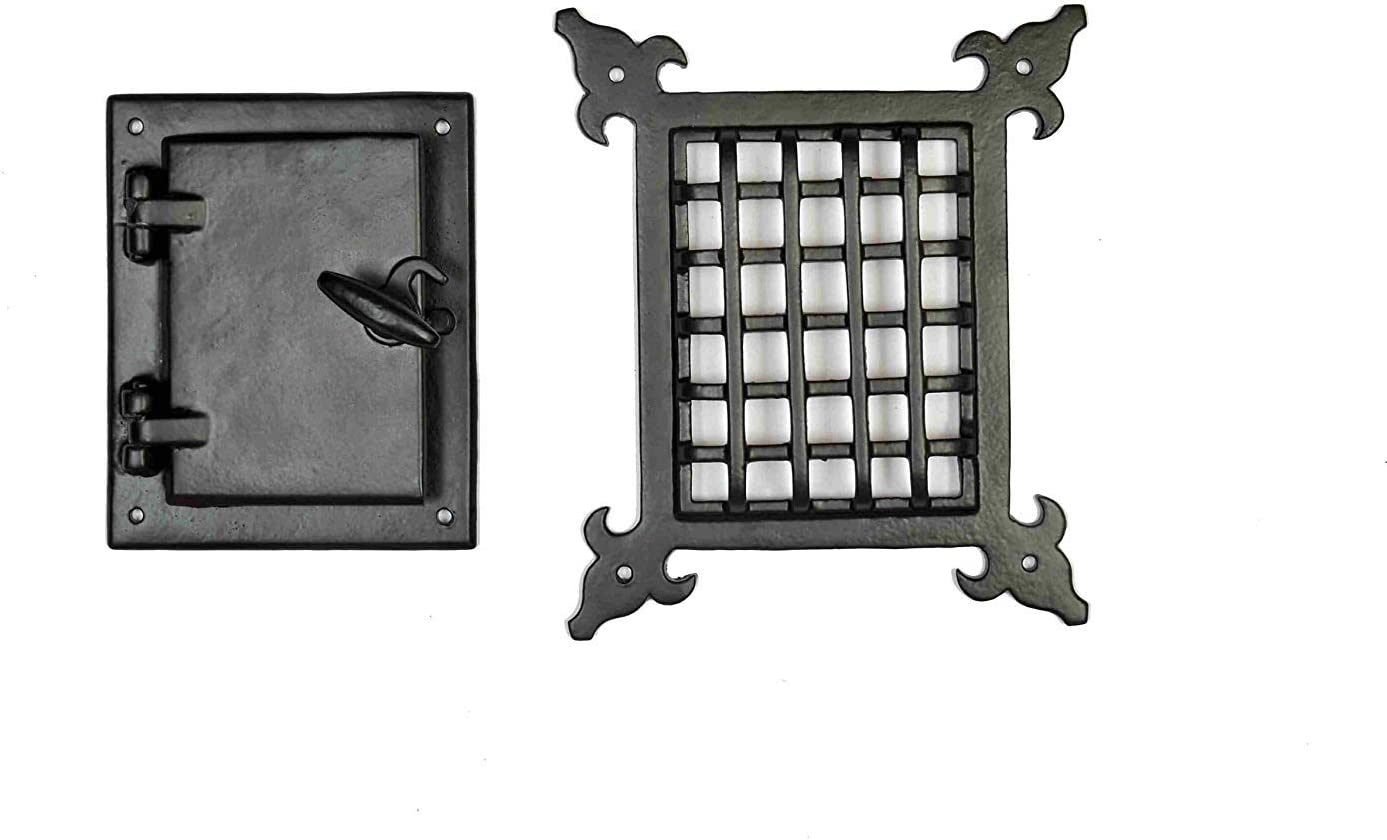 Cast Iron Safety Speakeasy Classic Style Black Grill & Girlle with Viewing Door Set Accent Door Gate Interior Privacy by Perilla Home
