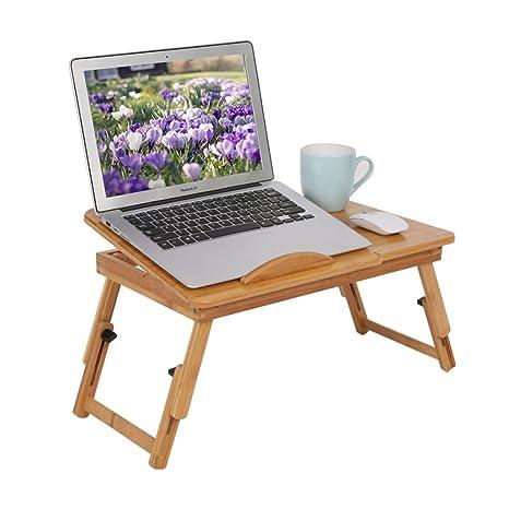 Ganeep Computadora Escritorio Portátil de Bambú Portátil Sofá Mesa Plegable Portátil Plegable Soporte de Escritorio Ordenador
