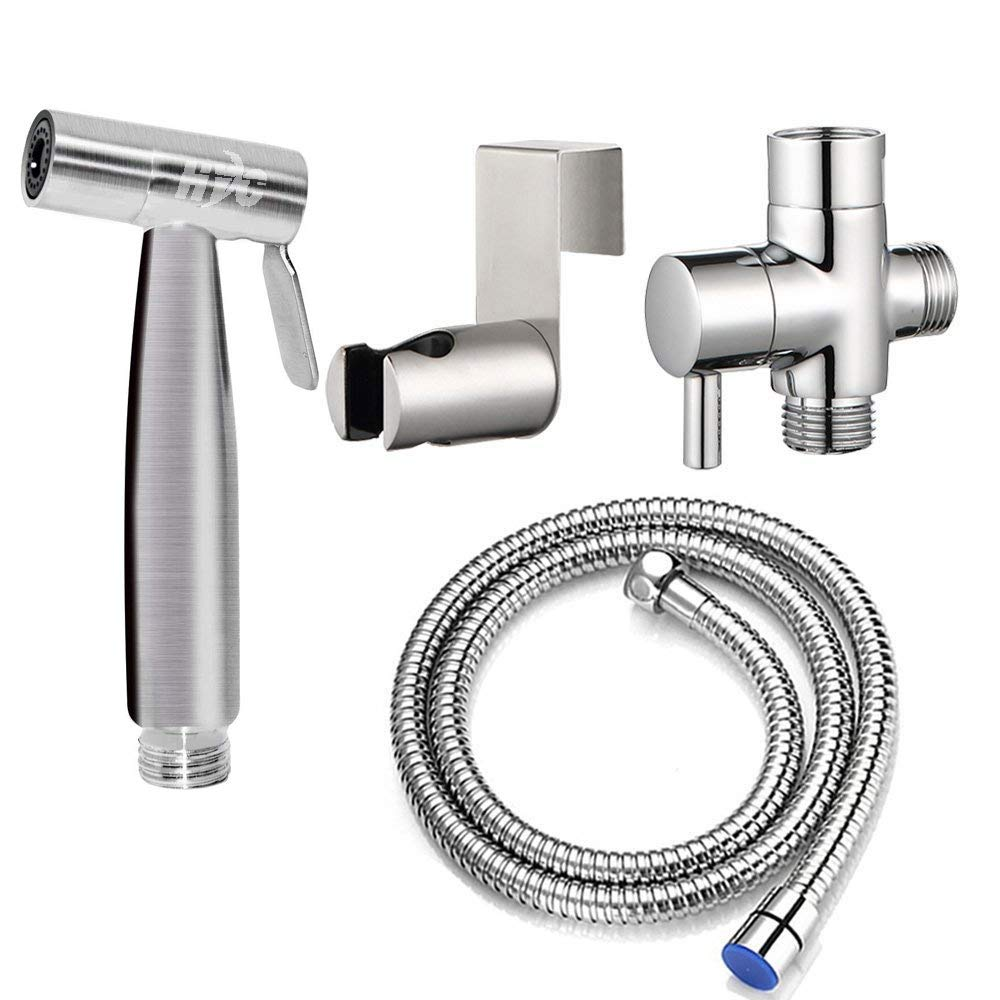 Hand Bidet Toilet Sprayer,1 Pc Stainless Steel Toilet Hand Shower Reusable Hand Holder Bathroom Toilet Attachment Used for Personal Hygiene and Potty Toilet Spray