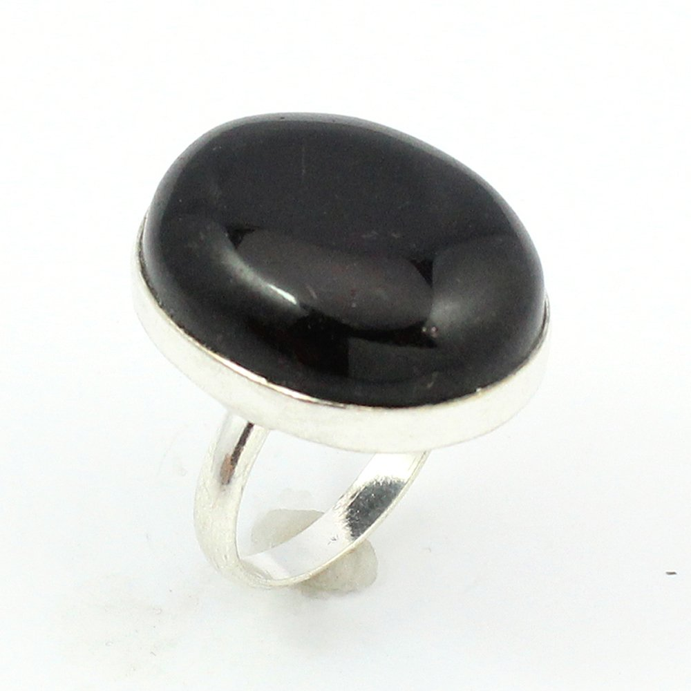 BEST QUALITY BLACK ONYX FASHION JEWELRY .925 SILVER PLATED RING S12506