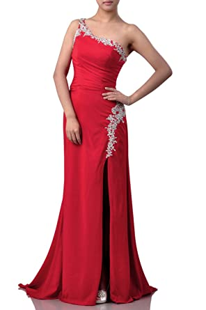 Long Formal Dresses For Women Evening Natrual One Shoulder Chiffon Special Occasion, Color Lapis,