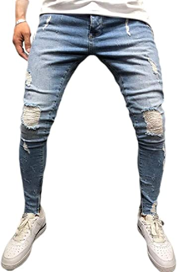 Qiangjinjiu メンズファッションストレッチリーリッピングスキニーバイカージーンズ破壊テーパースリムフィットデニムパンツ