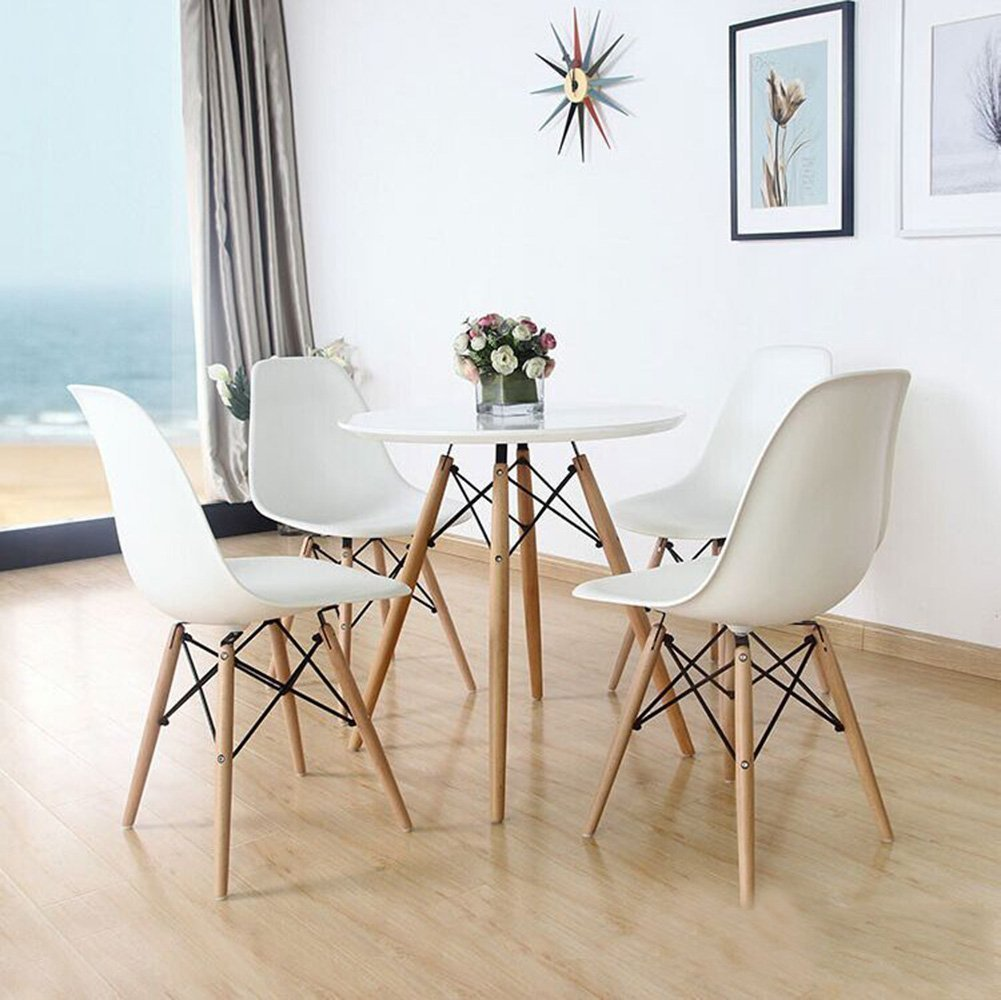 Set Of 4 Eames Eiffel DSW Style Modern Side Dining Chairs  Natural Wood  Legs: Amazon.ca: Home U0026 Kitchen