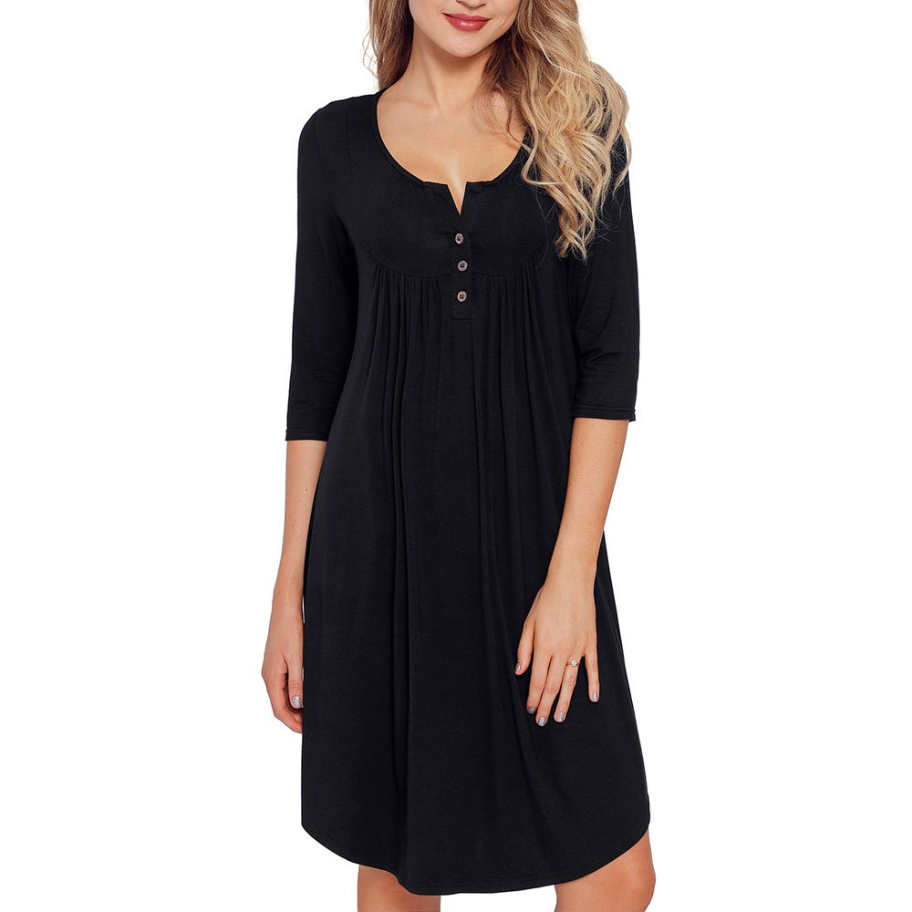 84f011489db2e Feature:Solid Color,U neck with little V neck, Three-quarter Sleeve dress.Basic  tunic dress knee length for women Three buttons on the front,buttons up to  ...