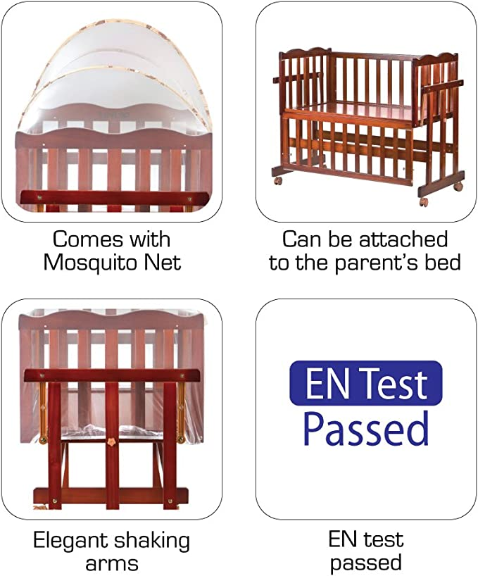 LuvLap Baby Multipurpose Wooden Cot C-30 with Swing & Mosquito Net Along with Wheels (Cherry Red)