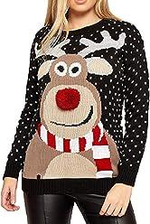 Pullover Damen Weihnachten Hirschkopf Kariert Elegant Bluse Frauen Christmas Langarm Shirt