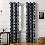 "Sun Zero Barnett Trellis Blackout Grommet Curtain Panel, 40"" x 63"", Navy"
