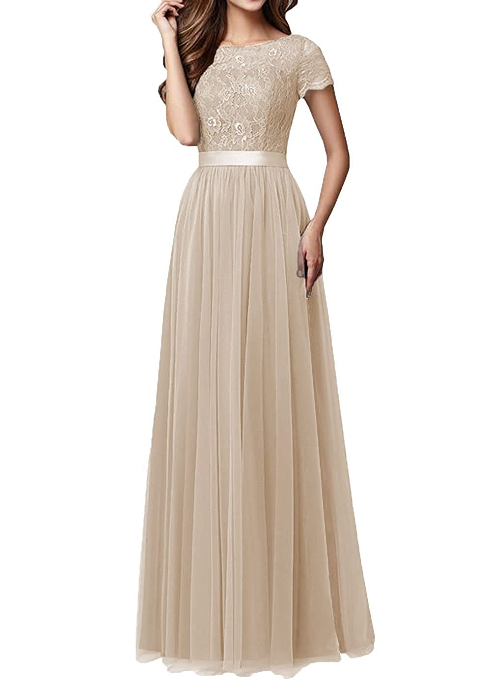Champagne Pretygirl Womens Tulle Long Bridesmaid Dress Sleeves Lace Prom Evening Dresses