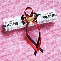 Customizable - Atlanta Falcons fabric handmade into bridal prom white organza wedding garter with football charm