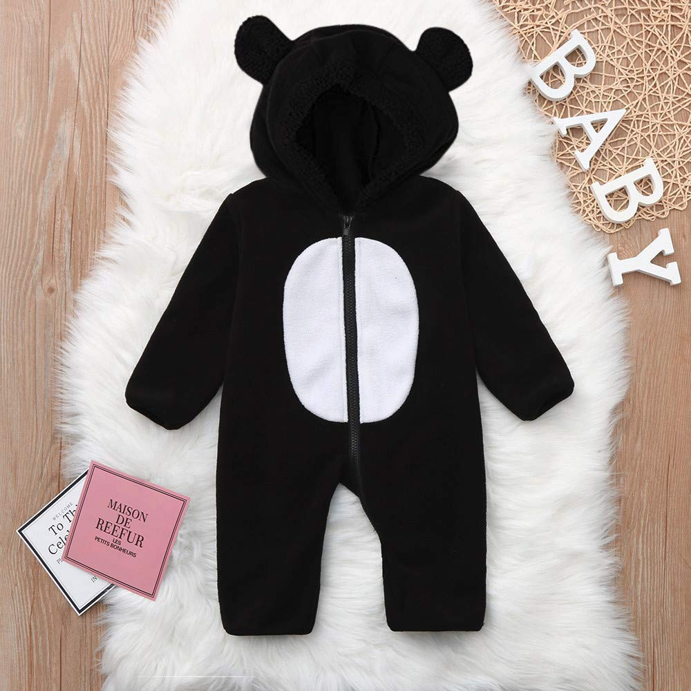 SHOBDW Good Material Infant Toddler Baby Girls Gifts Funny Cartoon Ears Hoodie Long Sleeve Zip Cosplay Autumnal Winter Warm Clothes Jumpsuit Boys Rompers
