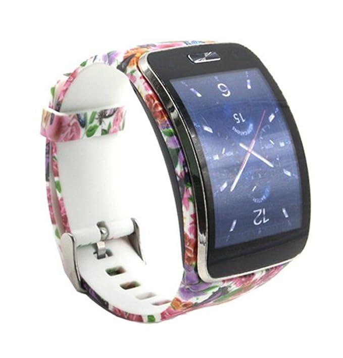 Fit-power - Pulsera de Repuesto para Reloj Inteligente Samsung Galaxy Gear S R750, tamaño Libre, inalámbrica, Correa de Reloj Inteligente con Hebilla de ...