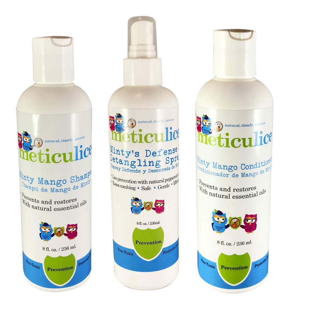 Meticulice Natural Head lice Prevention Shampoo, Conditioner & Repel Spray Mango & Peppermint Scent, Safe for Daily Use Meticulice Natural Prevención de piojos Champú, acondicionador y spray by Meticulice