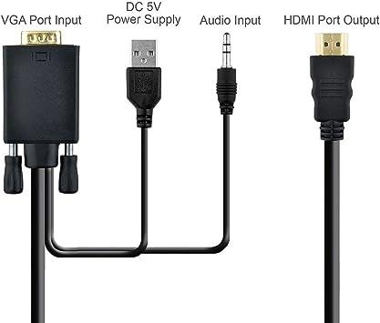 VGA a HDMI adaptador Cable (6 m, 1080p), ozright Cable VGA a HDMI ...