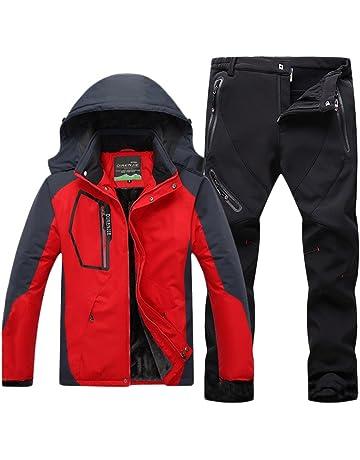 Qitun Uomo Giacca Impermeabile e Pantaloni da Escursionismo Sport  All Aperto Anti-Vento 1495a357565