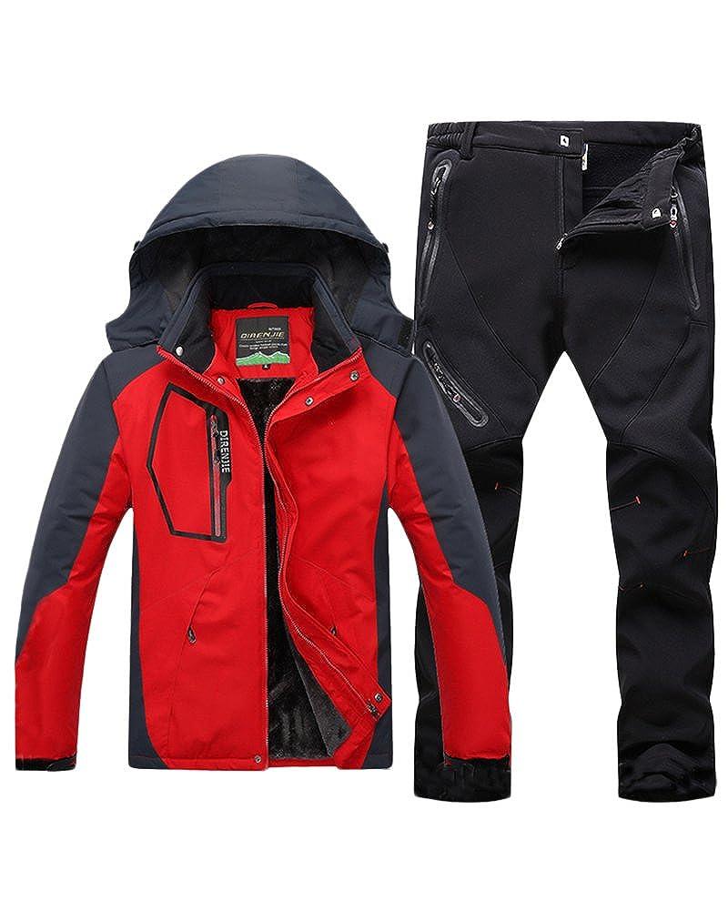 Qitun Hombre de Trekking Impermeable Deportivos Transpirable Pantalones Chaqueta de Esqu/í Impermeable Chaqueta de Nieve Excursionismo Conjunto CaiAzul B XL