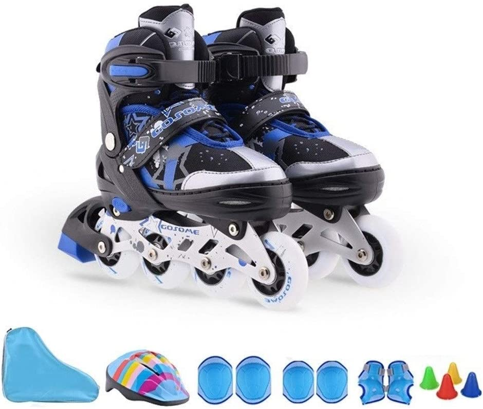 調整可能なアンチコリジョンフラッシュスケート、子供用インラインスケート、大人の男性と女性のローラーシューズ (Color : 青, Size : S(30-33)) 青 S(30-33)