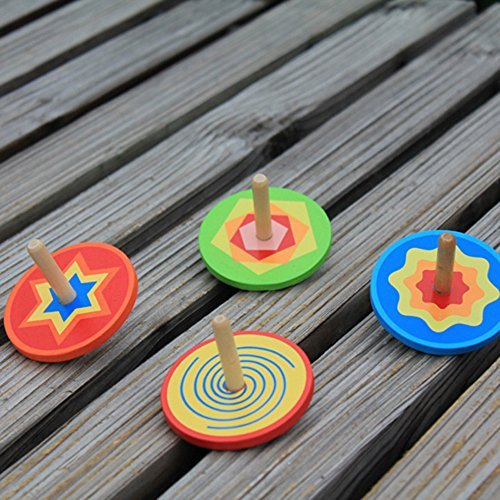 FQStech Lot of 4 pcs colorful Handmade Painted Wood Spinning Tops gyroscope; wooden whipping top scopperil peg-top Education Toys Kindergarden Toys flat - Top Kids Flat