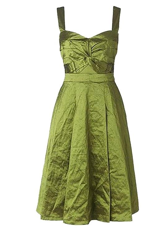 Ladies Twist / Knot Bodice Olive Taffeta Prom Dress. RRP: £150. Sizes 10-16: Amazon.co.uk: Clothing