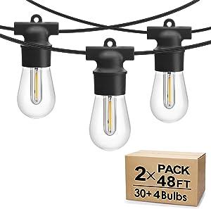 2 Pack 48FT LED Outdoor String Lights, Commercial Grade LED String Lights Waterproof Strand LED Edison Bulb 15 Hanging Sockets, LED Cafe Lights Bistro Lights Shatterproof for Backyard Patio Party