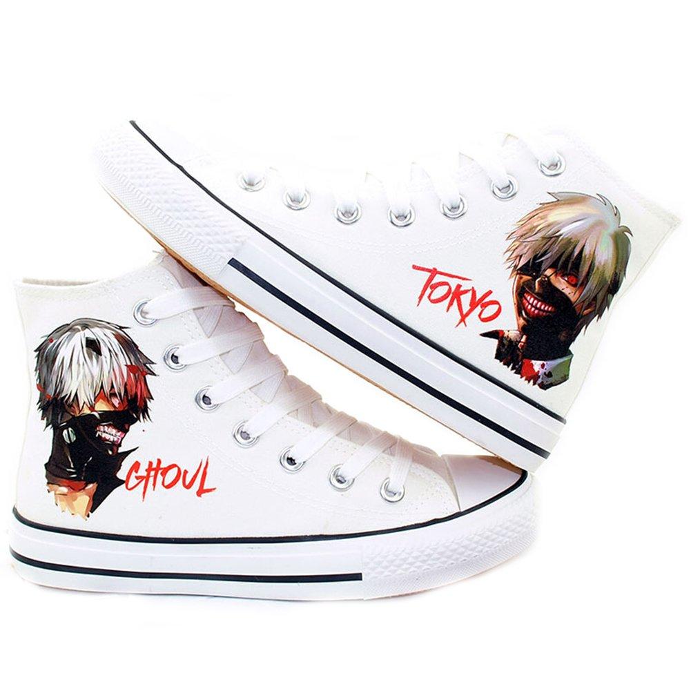 Telacos Tokyo Ghoul Anime Kaneki Ken Cosplay Chaussures Toile Chaussures Sneakers Noir/Blanc