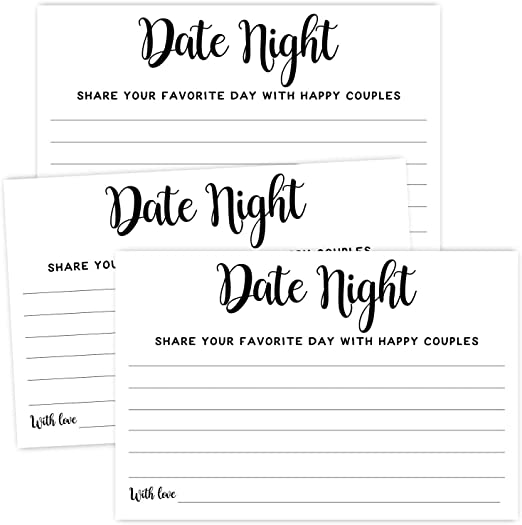 Amazon Com 50 Date Night Ideas Cards Wedding Advice Cards For Bridal Shower Married Couples Bride And Groom 4x6 Inch Kitchen Dining