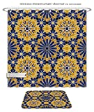 Minicoso Bath Two Piece Suit: Shower Curtains and Bath Rugs Zellige Tile Moroccan Seamless Pattern Razil Moorish Background Islamic Texture Shower Curtain and Doormat Set