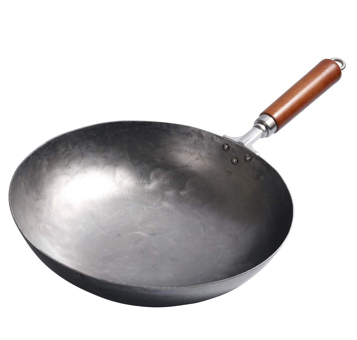 Mecete Wok pan 3rd Generation, Traditional Hand Hammered Uncoated Carbon Steel Pow Wok with Wooden and Steel Hanging Ring(13.38 Inch, Round Bottom) 1.8 mm thickness FDA approved