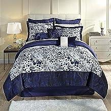 Kardashian Collection Indigo Blue Full Bed Comforter Set Animal Print 4 Piece