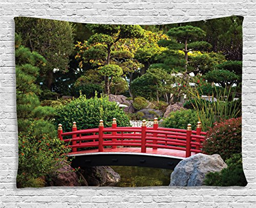 Ambesonne Apartment Decor Collection, Foggy Morning Wooden Bridge At Japanese Garden With Various Types Of Trees In Autumn, Bedroom Living Room Dorm Wall Hanging Tapestry, 80W X 60L Inch
