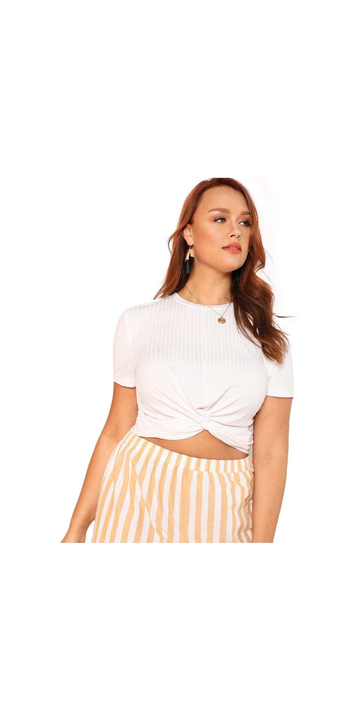 Women's Front Twist Short Sleeve Plus Size Crop T-shirt