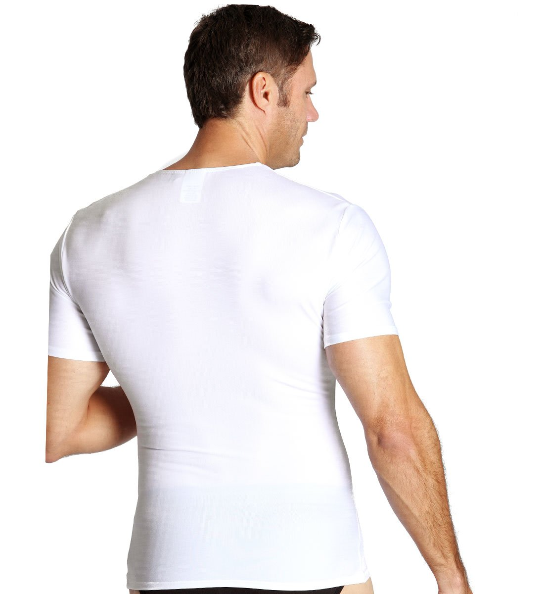 Insta Slim Men's Compression Crew-Neck T-Shirt (Large, White), The Magic Is In The Fabric! by Insta Slim (Image #4)