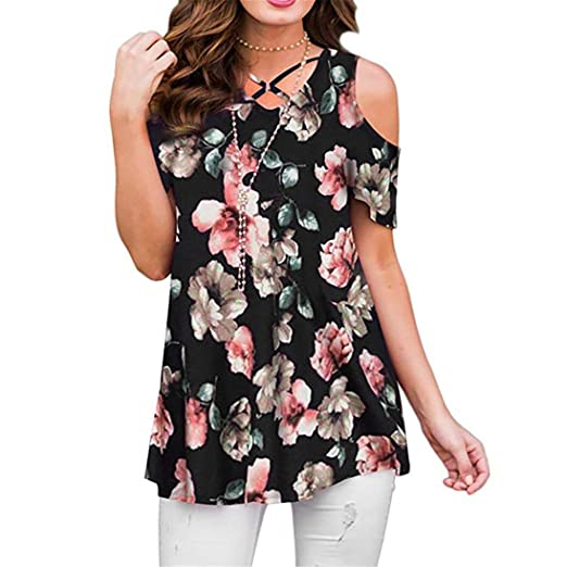 e6fc2710063 POHOK Clearance Deals ! Women Short Sleeve O-Neck Printed Splicing Tops Plus  Size T-Shirt Blouse at Amazon Women s Clothing store