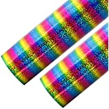 Outuxed 2 Sheets 12 x 20 inches Holographic Stripe Multi Heat Transfer Vinyl HTV for T-Shirts, Rainbow Color