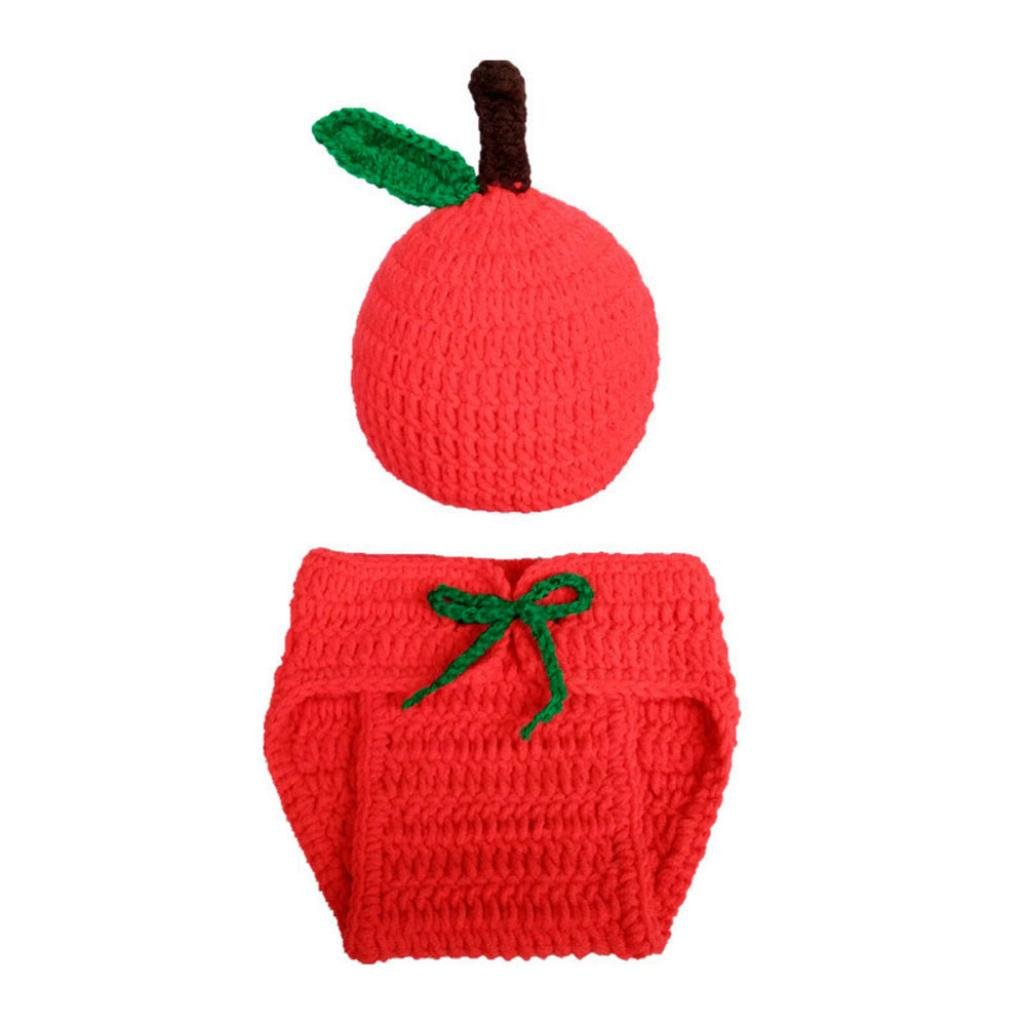 Digood Baby Apple Knit Crochet Clothes Costume Photo Photography Props Outfits (Red)