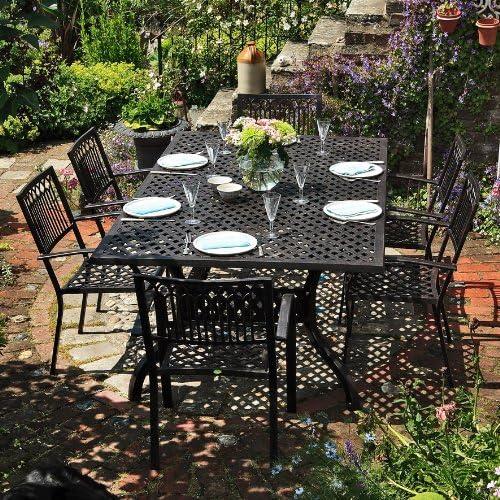 Salón de jardín aluminio – Mesa rectangular Sophia 200 X 120 cm y 6 sillas Maria: Amazon.es: Jardín
