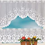 Hot Sale!DEESEE(TM)2PCS Lace Coffee Cafe Window Tier Curtain Set Kitchen Dining Room Home Decor Lot (D)