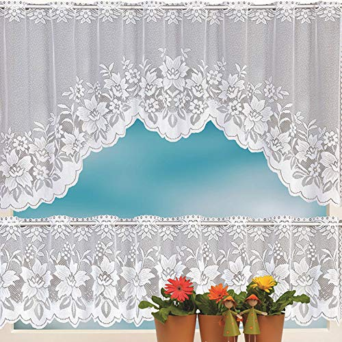 Lace Door/Window Curtain/Background, Elevin(TM) 2PCS Lace Coffee Cafe Window Tier Curtain Set Kitchen Dining Room Home Decor Lot (D)