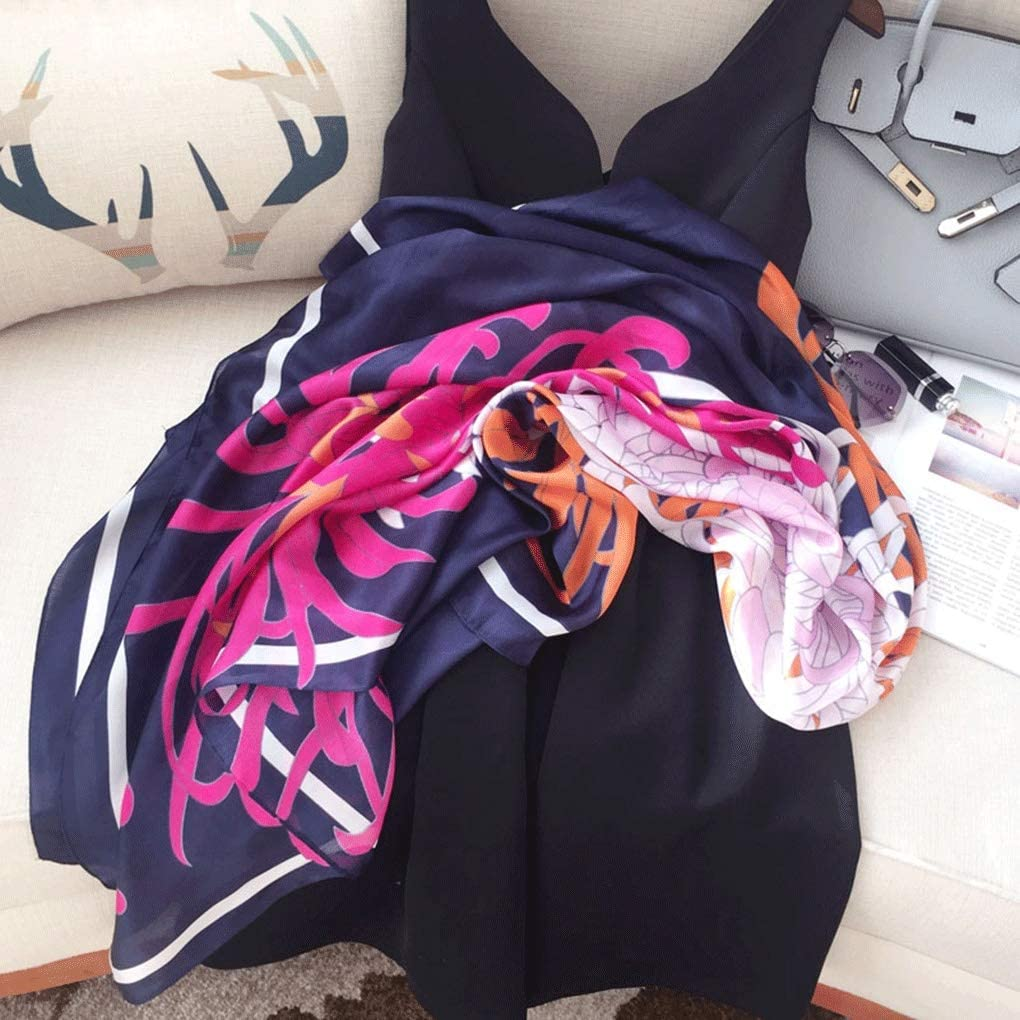 Color : Blue, Size : 140 * 140cm Silk Large Square Scarf Womens Wild Thin Sunscreen Shawl Mother Fashion Multifunctional Scarf