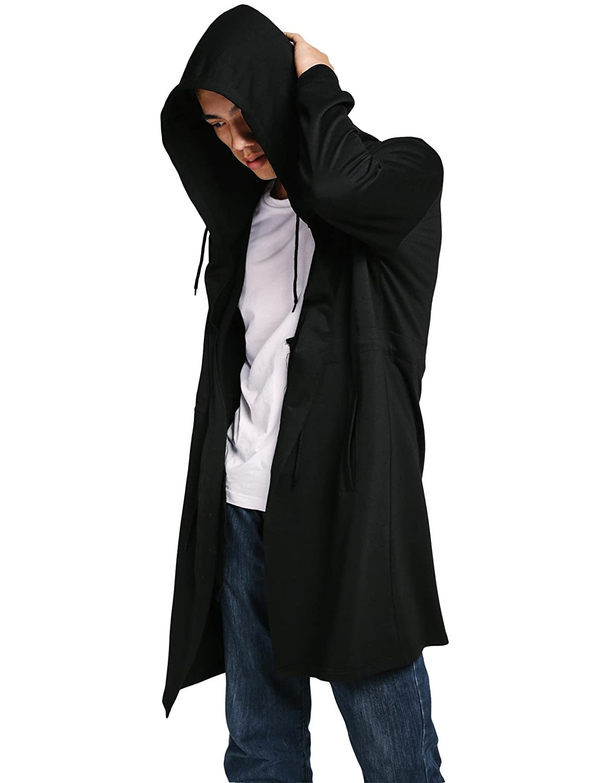 COOFANDY Men's Stylish Long Hooded Outwear Casual Hoodies Overcoat