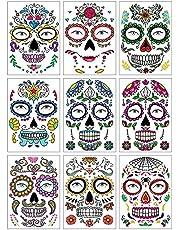SlowTon Tatuajes Temporales para Día de los Muertos, Impermeables 9 Piezas Pegatinas Maquillaje de Calavera Facial para Hombres y Mujeres, Decoraciones Juego rol Fiesta de Disfrace para Halloween
