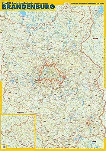 Postleitzahlen Karte Brandenburg.Pharus Postleitzahlenkarte Brandenburg Maßstab 1 240 000 Amazon