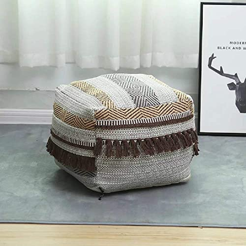 Pouf Cover Storage with Handmade Woven Cotton Linen Pouf Cover Boho Square Unstuffed Pouf Ottoman Footstool Foot Rest for Living Room, Bedroom and Under Desk,12.9×16.5×16.5inch Coffee