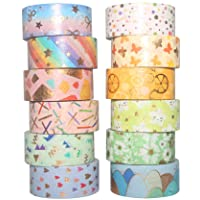 Yubbaex 12 Rolls Spring Gold Washi Tape Set Masking Decorative Tapes
