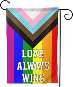 MINIOZE Gay Pride LGBTQ LGBT Rainbow Lesbian Love Always Wins Welcome Outdoor Outside Decorations Ornament Garden Yard Decor Double Sided 12.5X 18 Flag