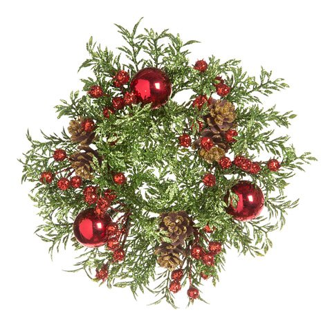 (darice 30028443 Darice Christmas Greenery with Berries and Pinecones Candle Ring: Glitter, 8in, 1.25