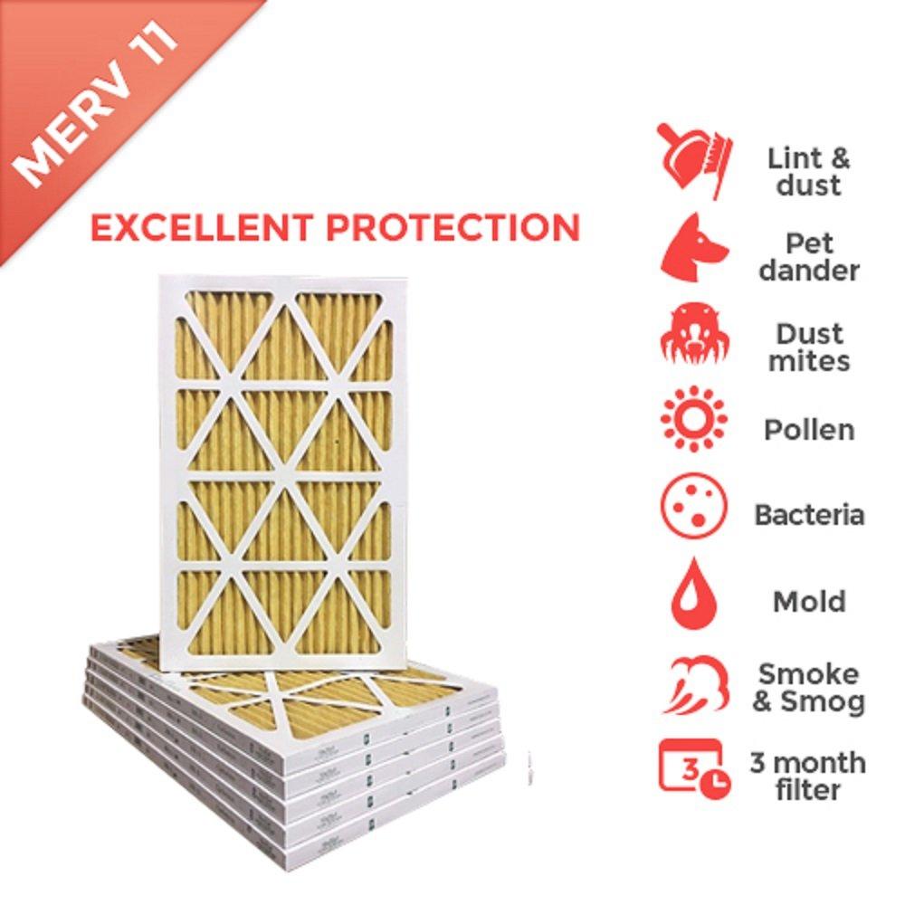 16x30x1 MERV 11 ( MPR 1000 ) Pleated AC Furnace Air Filter - 6 Pack