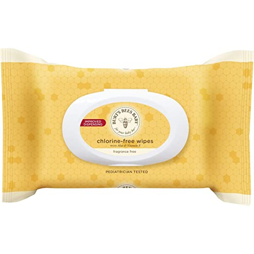 Burt's Bees Baby Chlorine-Free Wipes, Unscented Natural Baby Wipes - 72 Wipes