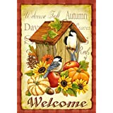 Toland Home Garden 112503 Toland-Autumn Birds-Decorative Welcome Fall Birdhouse Pumpkin Flower USA-Produced Garden Flag