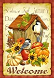Home Garden Best Deals - Toland Home Garden 112503 Toland-Autumn Birds-Decorative Welcome Fall Birdhouse Pumpkin Flower USA-Produced Garden Flag